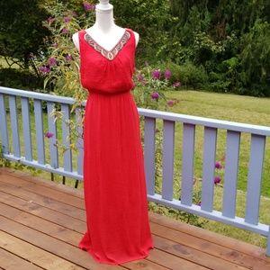 AGB Full Length Crinkle Dress Beaded Neckline XL